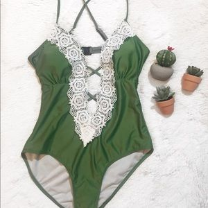 Other - Lace deep vneck one piece swimsuit